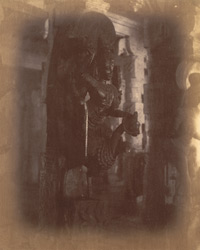 Close view of pillar with sculptured figure from the Pudu Mandapa, Minakshi Sundareshvara Temple, Madurai. 10032310